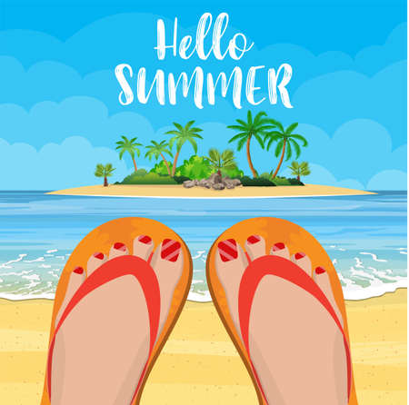 relaxing woman on the beach. females feet in a flip flops in the summer. Vector illustration in flat style