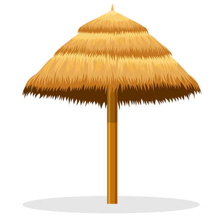 beach straw umbrella vector illustration