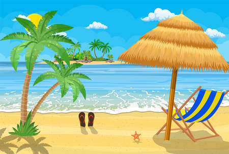 Landscape of wooden chaise lounge, palm tree on beach. Umbrella . Sun with clouds. Day in tropical place. Vector illustration in flat style