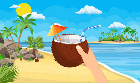 Coconut with cold drink, alcohol cocktail in hand. Landscape of palm tree on beach. Day in tropical place. Vacation and holidays. Vector illustration flat style