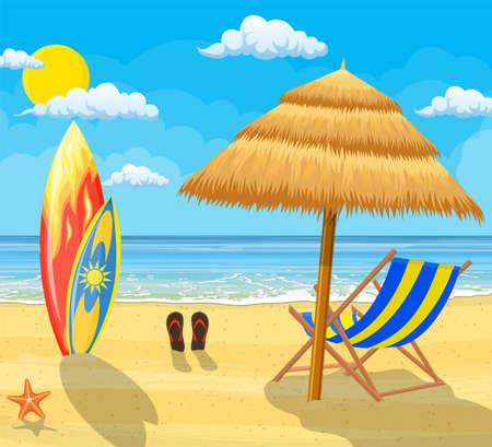 surfboards on a beach against a sunny seascape vector illustration