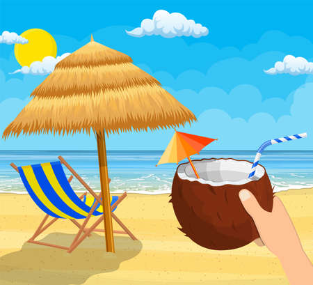 Coconut with cold drink in hand vector illustration