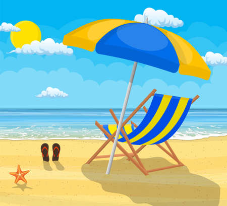 Landscape of wooden chair lounge, umbrella and flip flops on beach. Day in tropical place. Vector illustration in flat style Illustration