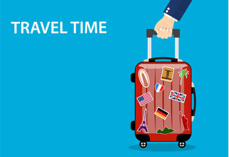 Travel bag, luggage with Travel Time text on blue background.