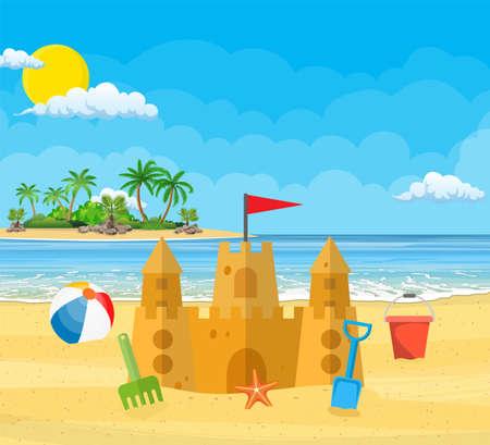 Summer Vacation. Sand Castle isolated on plain background. Stock Illustratie