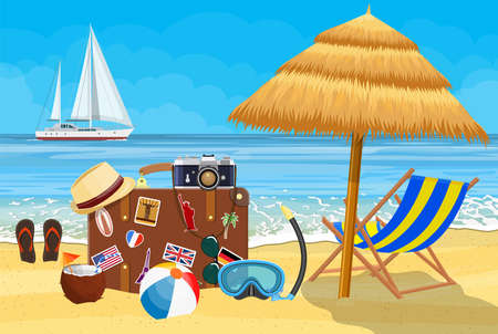 Vintage old travel suitcase on Paradise beach of the sea with yachts. Leather retro bag with stickers. wooden chaise lounge, umbrella. Vacation travel. Vector illustration flat style