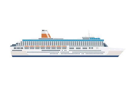 zee cruiseschip geïsoleerd op wit Vector Illustratie