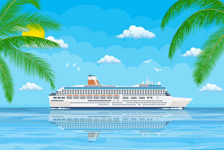 Landscape of islands and beach with cruise ship.