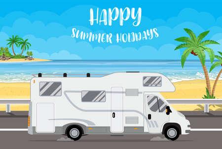 Family traveler truck background Ilustração