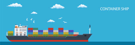 Cargo container ship transports containers Illustration