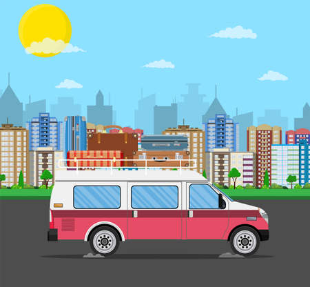 Retro travel van car with bag on roof.