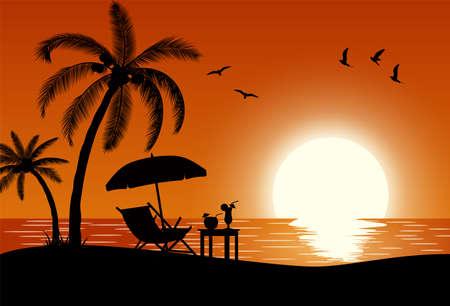 Schattenbild der hölzernen Chaiselongue, Palme am Strand. Regenschirm und Tisch mit Kokosnuss und Cocktail. Vektorillustration im flachen Design