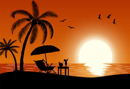 Silhouette of wooden chaise lounge, palm tree on beach. Umbrella and table with coconut and cocktail. vector illustration in flat design