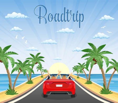highway drive with beautiful landscape on a beach with palms. Summer tourism, travel. Travel road car view. happy free couple in car driving with arms raised. vector illustration in flat design Illustration