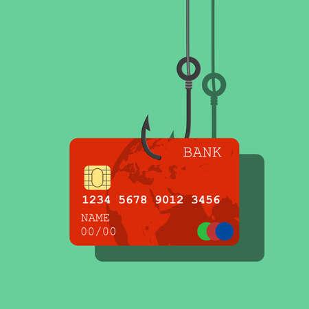 Credit or debit card on fishing hook illustration.