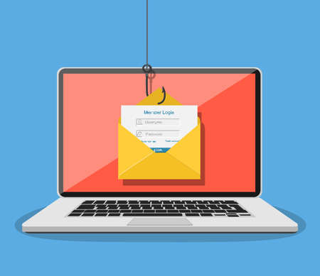 Login into account in email envelope illustration.