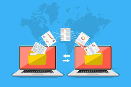 File transfer. Two laptops with folders on screen and transferred documents. Copy files, data exchange, backup, PC migration, file sharing concepts. vector illustration in flat design Vettoriali