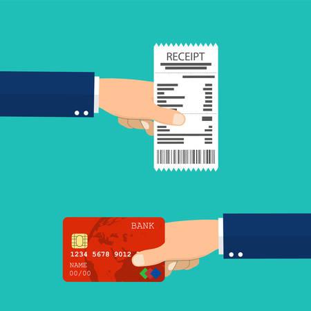 Mano que sostiene el recibo y mano que sostiene la tarjeta de crédito. Ilustración de vector