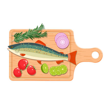 Ingredients and spices for cooking fish.
