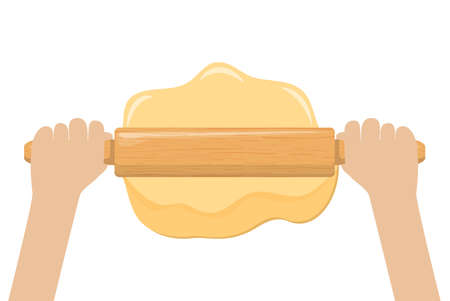 Hand rolling dough with a rolling pin vector illustration