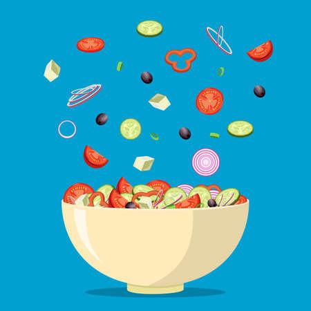 fresh Greek salad with greek olives, cucumbers, tomatoes, onion, feta cheese. Vegetarian salad. vector illustration in flat design