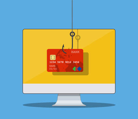Internet phishing and hacking attack concept. Email spoofing and personal information security background. internet attack on credit card. vector illustration in flat design. 向量圖像