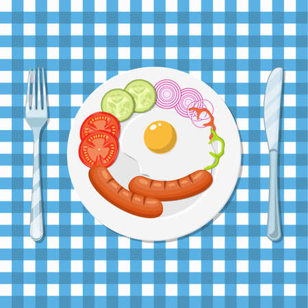 Fried eggs and sausages on a white plate. Pieces of fresh vegetables. The view from the top. Vector illustration in flat style