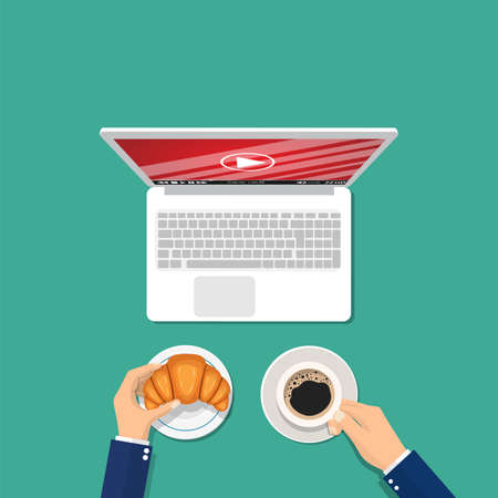 Man with a cup of coffee and a croissant watching a video on a laptop. Video streaming concept. Vector illustration in flat style Illustration