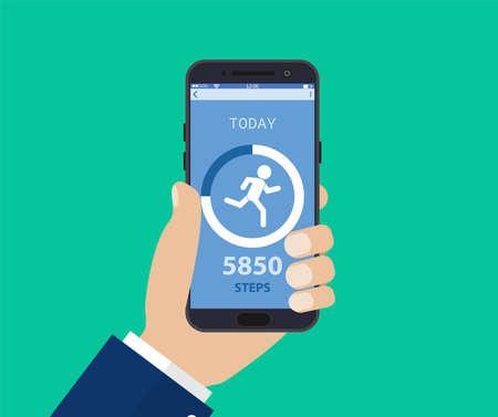 App per il monitoraggio del fitness sullo schermo del telefono cellulare, smartphone con tracker di corsa, tecnologia sportiva per la corsa o la camminata sul cellulare. Illustrazione vettoriale in stile piatto