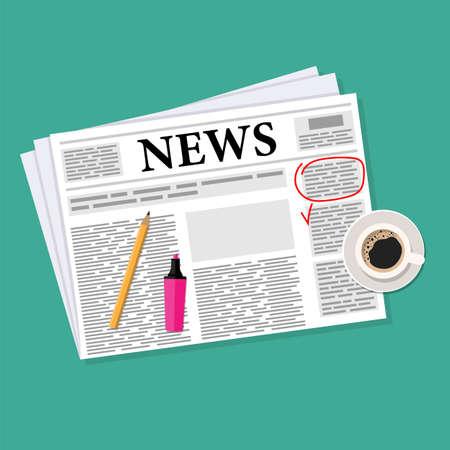 Morgenkaffee und Zeitung auf dem Tisch. Wichtige Informationen markierte Markierung. Vektorillustration im flachen Stil