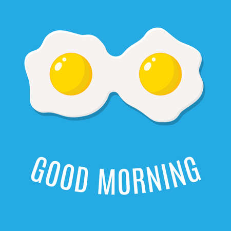 good morning concept. breakfast fried hen or chicken egg with a orange yolk in the center of the fried egg. Vector illustration in flat style