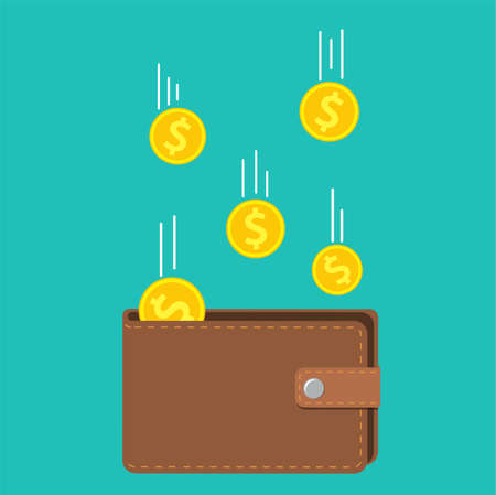 Golden coins money flying in wallet. concept of fund savings, cash earnings, financial success, getting wealth. Vector illustration in flat style Illustration