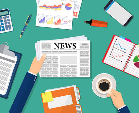 Business news. Businessman holding a newspaper and coffee cup on the desktop. Coffee break, breakfast, lunch, documents, purse, calculator, notebook, wrist watch. Vector illustration in flat style