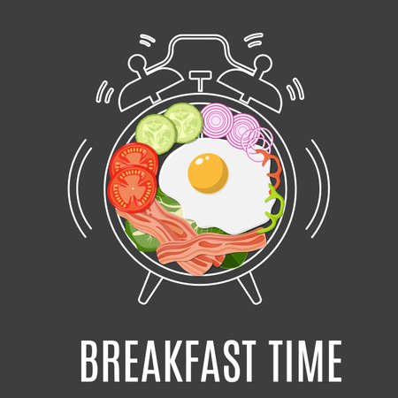 Breakfast menu. Fried eggs, bacon, tomato, seasoning on plate with alarm clock. Breakfast time concept. Vector illustration in flat style