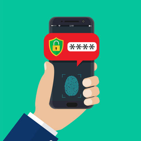 Hand with mobile phone unlocked with fingerprint button and password notification. Vector illustration in flat style Illustration