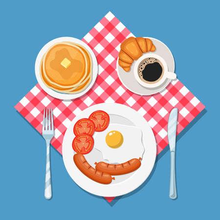 Appetizing delicious breakfast of coffee,