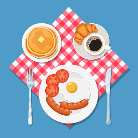 Breakfast concept. Appetizing delicious breakfast of coffee, fried egg with sausage, croissant and pancakes . Vector illustration in flat style