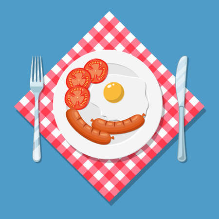 Breakfast, plate with fried egg, tomato and sausage. The view from the top. Vector illustration in flat style Illustration