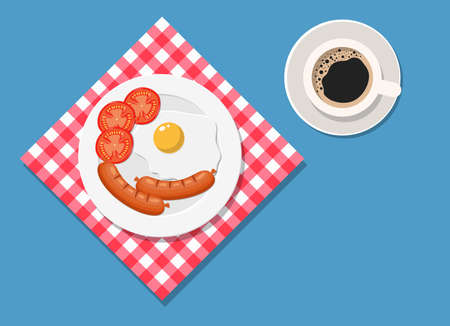 Breakfast, plate with fried egg and sausage.