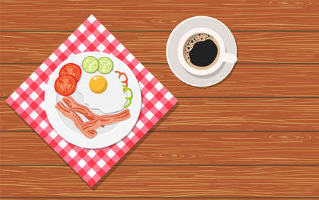 Breakfast, plate with fried egg, tomato and sausage and cup of coffee on a wooden table.. The view from the top. Vector illustration in flat style