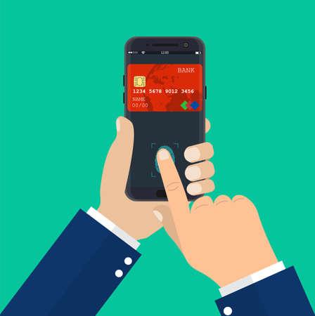 Payment app, bank card on smartphone screen. Hand holds smartphone and finger touches fingerprint sensor. Vector illustartion in flat style Illustration