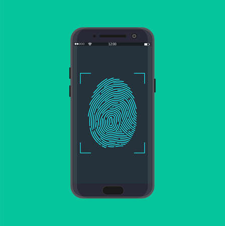 Electronic fingerprint on pass scanning mobile phone screen, security check. Futuristic technology for digital security, identification, privacy system. Vector illustration in flat style