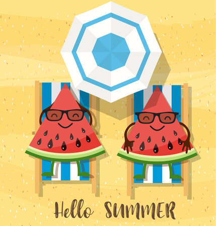 watermelons cartoon character on beach. holiday background with watermelon and inscription hello summer. Vector illustration in flat style