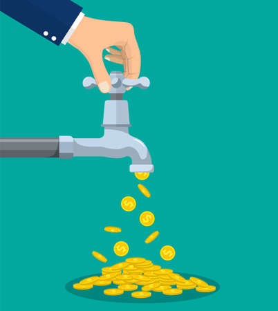 Golden coins fall out of the metal tap. Vector illustration in flat style