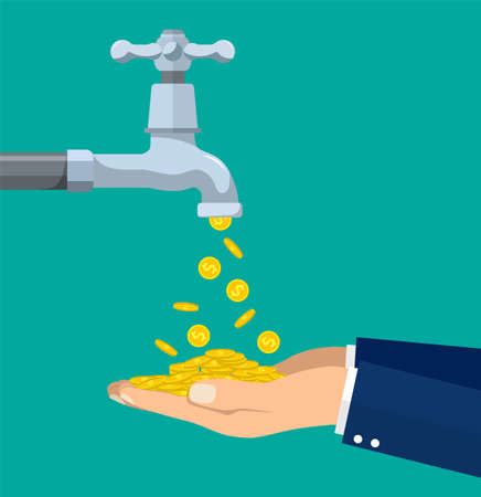 Money coins flows to hand from tap. Vector illustration in flat style
