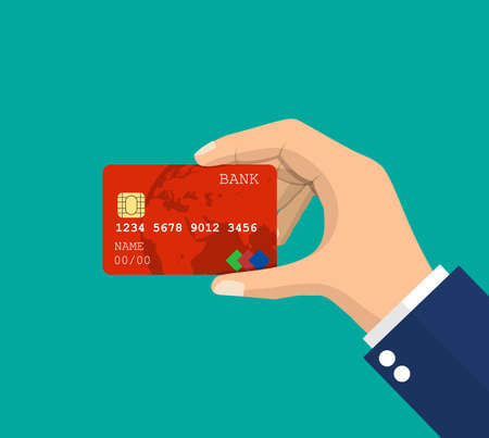 Bank card, credit card in hand. Modern payment system with chip and contactless payment symbol. Vector illustration in flat style
