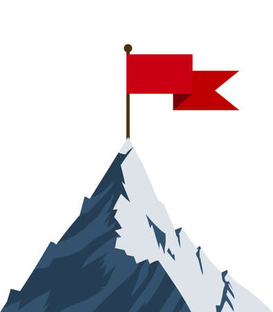 Red flag on mountain peak. Successfull mission icon business concept. Symbol of victory, winning. Vector illustration in flat style