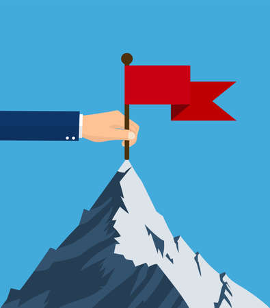 Successfull mission. Standing with red flag on mountain peak. Goal achievement. symbol of victory. Business concept. Vector illustration in flat style
