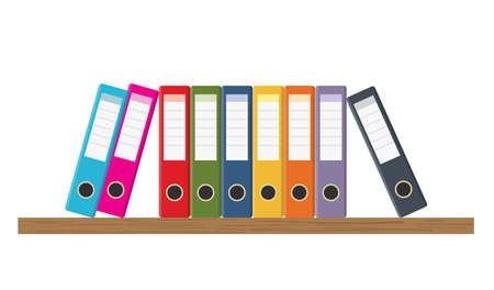 Document Storage Shelves with set of colored ring binders on white background. Office folders. Vector illustration in flat style