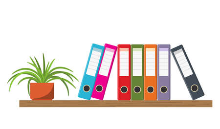 Wooden shelf with Colorful office folders and flowerpot. Vector illustration in flat style